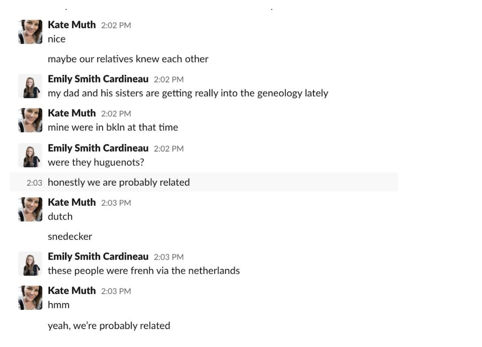A Slack conversation about genealogy