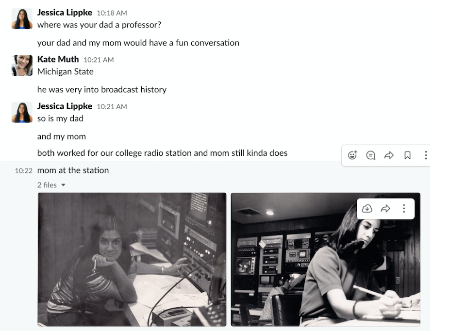 A screenshot of a Slack conversation