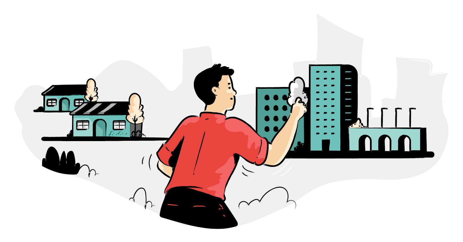 Illustration of man arranging a diorama of a city